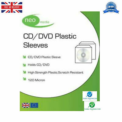 £6.99 • Buy 50 NEO CD DVD Plastic Sleeves With Flap (Stitched Edge) 120 Micron Clear NEW HQ