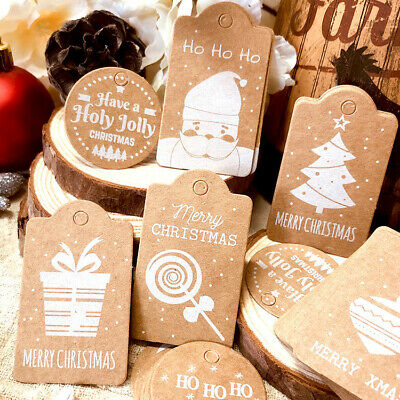 50Pcs New Christmas Kraft Paper Gift Tags Scallop Label Luggage Blank + Strings • 2.99£