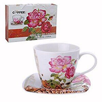 New Bone China Teacups Or Coffee Cups And Saucers Set Of 6 Red Pink Roses • 32.16£