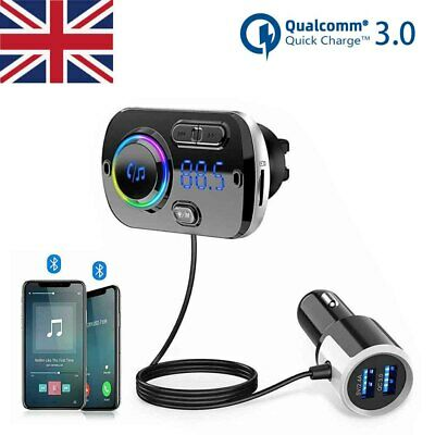 Bluetooth 5.0 Handsfree Car Kits FM Transmitter MP3 Player USB Fast Charger AUX • 11.88£
