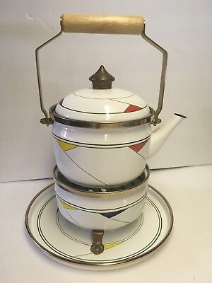 $45 • Buy MCM Fissler Asta Enamel Teapot Tea Kettle Warmer Complete Set West Germany