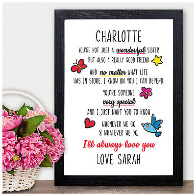 £5.95 • Buy Personalised Birthday Gifts For Sister - Poem Gifts For Sister Her Birthday