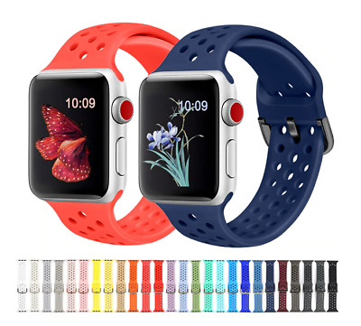 For Apple Watch Series SE 6/5/4/3/2/1 Breathable Soft Silicone Sports Band Strap • 4.49£