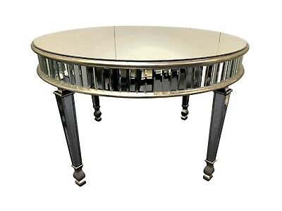 £569.50 • Buy 4 Seater Mirrored Round Dining Room Table Venetian Glass Luxury Silver Furniture