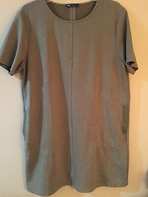 $34 • Buy Zara Dress  XL Sueded Short Sleeve A Line With Pockets Moss Green Taupe