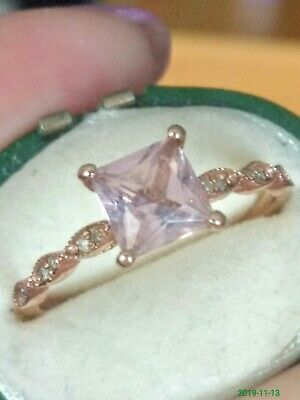 Pretty 10ct Rose Gold Pink Stone & Diamond Ring. Size N 1/2 • 105£