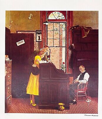 $ CDN100.80 • Buy NORMAN ROCKWELL 1978 Signed Limited Edition Litho MARRIAGE LICENSE FREE SHIP