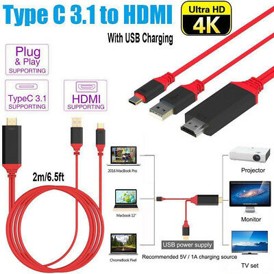 USB C Type-C To HDMI HDTV TV AV Cord Lead Cable 4K For Samsung Galaxy Note10+ 5G • 11.85£