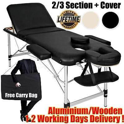 Portable Massage Bed Table Section Foldable Beauty Salon Couch - Metal Headrest  • 77.80£