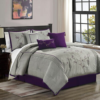 $65.99 • Buy Miki 7-Piece Floral Purple Gray Cherry Blossom Embroidery Comforter Set