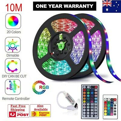 AU18.99 • Buy 5M 10M 3528 5050 RGB LED Strip Light Multi Colored Activated Remote 12V Strips