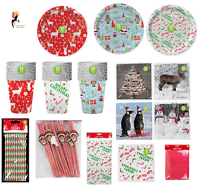 £3.38 • Buy FANCY CHRISTMAS DINNER PARTY TABLEWARE Paper Plates Cups Napkins Kids Adults UK