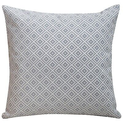 Scandi Geometric Ikat Cushion In Dove Grey And White. Double Sided. 17x17  • 9.99£