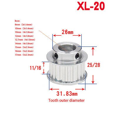 AU8.59 • Buy XL-20T Step Timing Pulley Keyway Bore For Width 11mm/16mm Belt Reprap 3D Printer
