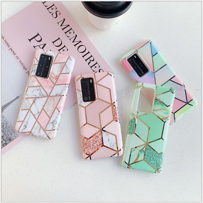 $ CDN7.68 • Buy Geometric Marble Case For Samsung S20/A51/A71/A20e/A41/A91/A70 Soft Pastel Cover