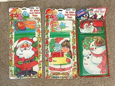 $ CDN13.64 • Buy Vintage Cleo Gibson Greeting Christmas Gift Tags Lot Of 3 Unique Self-Stick