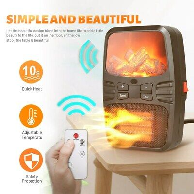 Portable Freestanding Tabletop Space Heater Flame Effect Mini Electric Fireplace • 46.79$