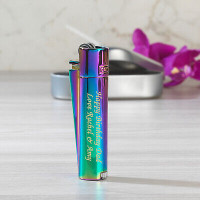 £10.50 • Buy Personalised Engraved Metal Rainbow Clipper Lighter For Birthday Christmas Gifts
