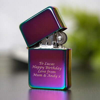 £6.99 • Buy Personalised Engraved Rainbow Petrol Lighter For Birthday Christmas Present Gift