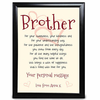 £5.99 • Buy Personalised Birthday Brother Gifts Him Framed Card Present Keepsake Gift Poems