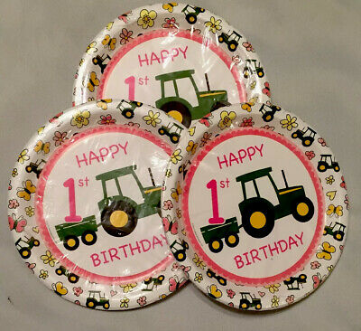"""AU17.70 • Buy John Deere 1st Birthday Party Plates Pink/Green Lot Of 24 Plates 9.5"""" Dia. NEW"""