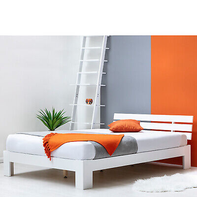 £159.99 • Buy Modern Low Platform White Wooden Bed Frame Single & Double Size
