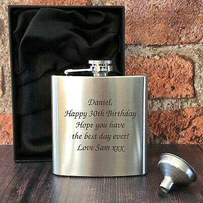 £6.30 • Buy Personalised Engraved Stainless Steel 6oz Hip Flask Funnel And Moulded Gift Box