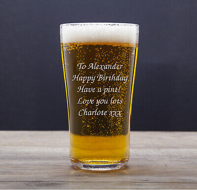 Personalised Pint Lager Beer Glass Engraved Best Man Gift Dad, Granddad, Daddy • 8.99£