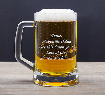 Personalised Engraved Pint Glass Tankard 18th 21st 30th Birthday Free Gift Box • 9.99£