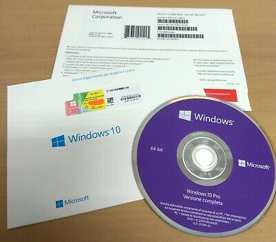 $ CDN94.43 • Buy Microsoft Windows 10 Professional Italiano Box Originale Dvd Coa Licenza A Vita