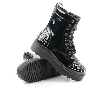 Womens Spikes Punk Goth Biker Chunky Platform Studded Ankle Boots  • 19.99£