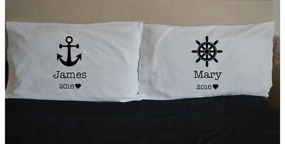 Personalised Name Sea Anchor Pillowcases Pillow Case Gift Wedding Pair Valentine • 15.99£