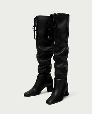NWT New Zara Black Leather Over The Knee Gathered Detail Boots Shoes US 6, 36 • 44.99$