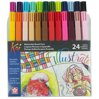 $28 • Buy Sakura XBR-24SA Koi Watercolor Coloring Brush Pen Set, 24 Count, Assorted Colors