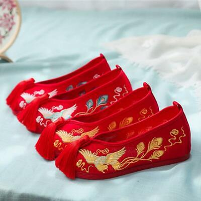Women Wedding Shoes Chinese Old BeijingTassel Embroidered Flats Cloth Shoes • 20.35£