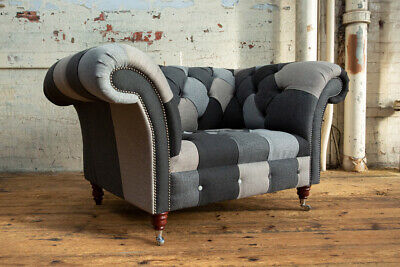 £895 • Buy Large Handmade Grey Wool Mix Patchwork Chesterfield Snuggle Chair, Fabric