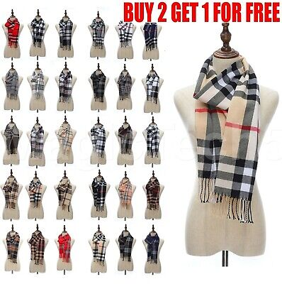 $5.88 • Buy Mens Womens Winter Warm SCOTLAND Made 100% CASHMERE Scarf Scarves Plaid Wool
