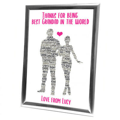 Personalised Grandad Gifts Christmas Grandfather Him Framed Card Grandaughter • 6.29£