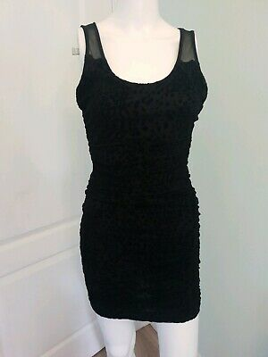 Brand New With Tags Jane Norman Black Ruched Animal Print Dress Size 8 • 8£