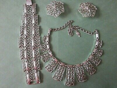 Sarah Coventry Set Of  Lady Of Spain  Bracelet Necklace Earrings 1961 Nos • 25$
