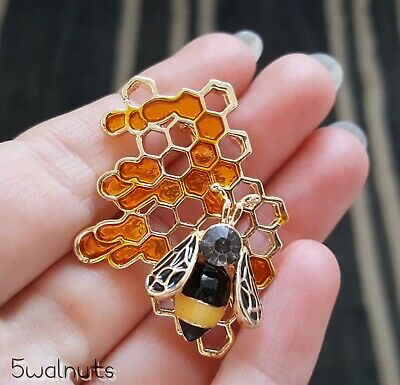 £5.49 • Buy Honeycomb Bumble Bee Brooch Diamante Crystal Pin Gold Broach Insect Gift UK