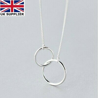 925 Sterling Silver Double Karma Interlocking Circle Ring Pendant Necklace Boho • 4.25£