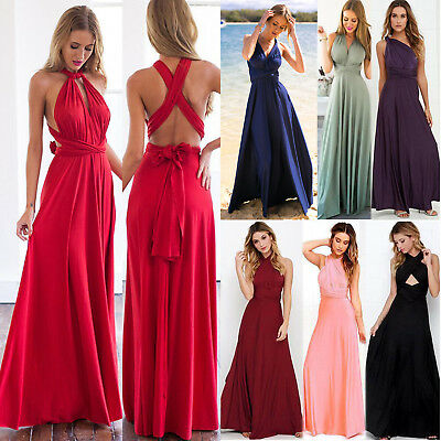 AU19.94 • Buy Women Convertible Multi Way Wrap Maxi Dress Evening Party Bridesmaid Formal Gown