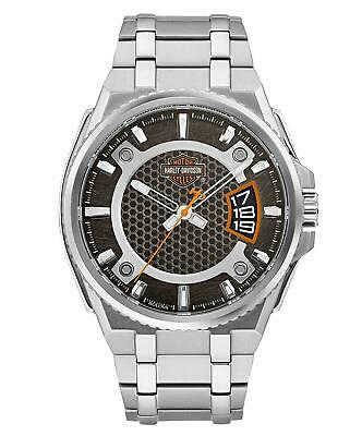 Harley Davidson 76B180 Men's Bar & Shield Dimensional Steel Watch RRP £199.00 • 185£