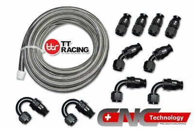 AU113.01 • Buy 8-AN AN8 Braided Steel PTFE Fuel Hose Black 20FT 6M + Swivel Teflon Fitting Kit