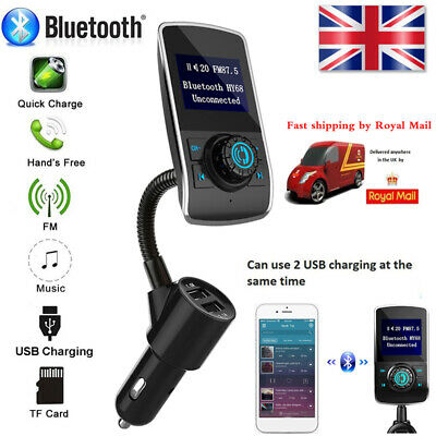 Wireless Bluetooth Handsfree Car Kit FM Transmitter MP3 Player USB Charger AUX • 16.39£
