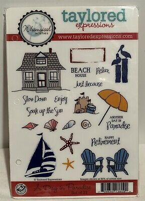Taylored Expressions A DAY IN PARADISE Beach Cottage Chairs Shells Rubber Stamps • 19.99$