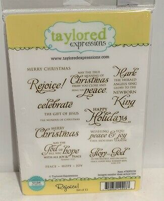 Taylored Expressions REJOICE! Religious Christmas Holiday Cling Rubber Stamps • 21.97$