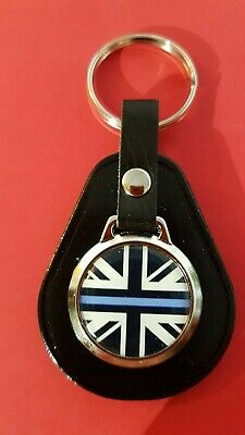 £4.89 • Buy Thin Blue Line Union Jack ! Police Force Cop Support QUALITY LEATHER KEYRING