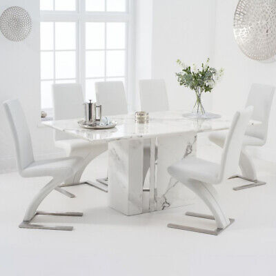Alice 7 Piece 1.8m White Marble Dining Table Set (Hereford Chairs) • 1,732.50£